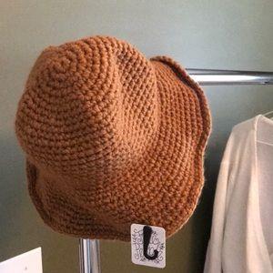 BROWN CROCHET BUCKET HAT FP NWOT